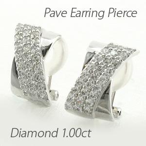 イヤリング ダイヤモンド ピアス レディース パヴェ ゴージャス 1.0カラット 地金 X字 クロス 18金 18k k18 ゴールド