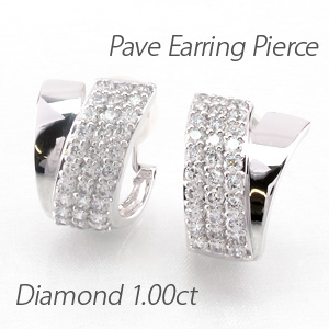 イヤリング ダイヤモンド ピアス レディース パヴェ ゴージャス 1.0カラット 地金 V字 プラチナ pt900