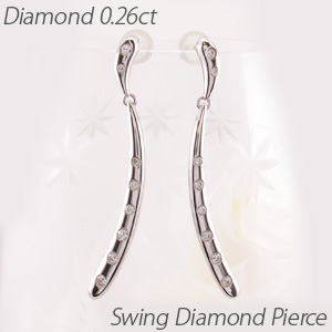 ダイヤモンド ピアス 10k 揺れる レディース ブラ ロング 地金 ドロップ つゆ 10金 k10 ゴールド 0.5カラット