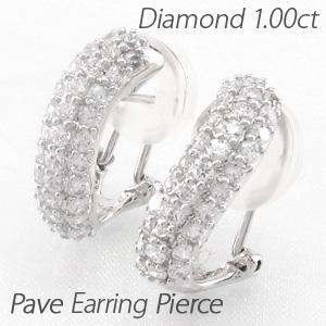 イヤリング ダイヤモンド ピアス レディース パヴェ ゴージャス 1.0カラット カーブ ウェーブ プラチナ pt900