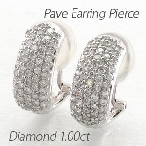 イヤリング ダイヤモンド ピアス レディース パヴェ ゴージャス 1.0カラット 18金 18k k18 ゴールド