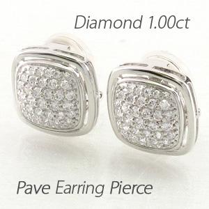 イヤリング ダイヤモンド ピアス レディース パヴェ ゴージャス 1.0カラット 地金 スクエア 18金 18k k18 ゴールド