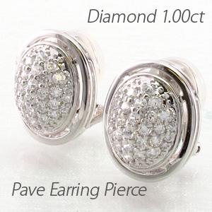 イヤリング ダイヤモンド ピアス レディース パヴェ ゴージャス 1.0カラット オーバル サークル 地金 プラチナ pt900