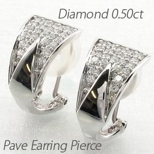 イヤリング ダイヤモンド ピアス レディース パヴェ ゴージャス 0.5カラット 地金 トライアングル 三角形 18金 18k k18 ゴールド