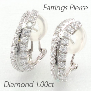 イヤリング ダイヤモンド ピアス レディース ウェーブ カーブ 1.0カラット ゴージャス プラチナ pt900