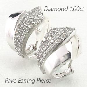 イヤリング ダイヤモンド ピアス レディース パヴェ 地金 コンビ ゴージャス 1.0カラット プラチナ pt900