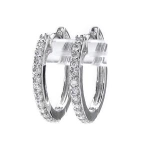 ダイヤモンド フープ ピアス 小さめ レディース ダイヤ 中折れ エタニティ 0.3カラット プラチナ pt900