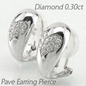 ダイヤ イヤリング ピアス ダイヤモンド レディース パヴェ ハート 地金 コンビ 0.3カラット 18金 18k k18 ゴールド