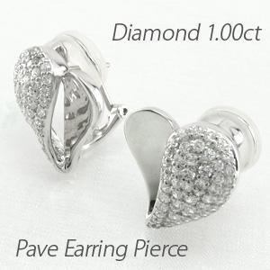 ダイヤ イヤリング ピアス ダイヤモンド レディース パヴェ ゴージャス ハート 地金 コンビ 1.0カラット 10金 10k k10 ゴールド