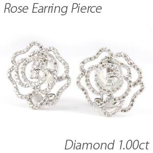 ダイヤ イヤリング ピアス ダイヤモンド レディース ローズ 薔薇 バラ フラワー 1.0カラット プラチナ pt900