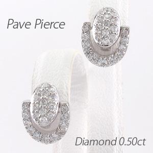 ダイヤモンド ピアス 18k 揺れる レディース パヴェ オーバル 馬蹄 ホースシュー ブラ 0.5カラット 18金 k18 ゴールド