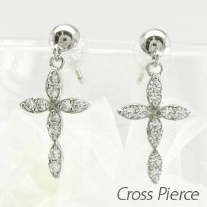 ピアス 揺れる クロス ダイヤモンド レディース 十字架 マーキス ブラ プラチナ pt900