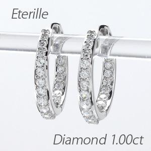 ダイヤモンド フープ ピアス 大きめ レディース ダイヤ 中折れ グラデーション 1.0カラット プラチナ pt900