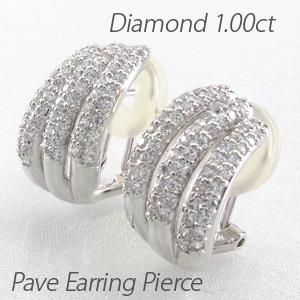 ダイヤ イヤリング ピアス ダイヤモンド レディース パヴェ ダブル 3連 ゴージャス 1.0カラット プラチナ pt900