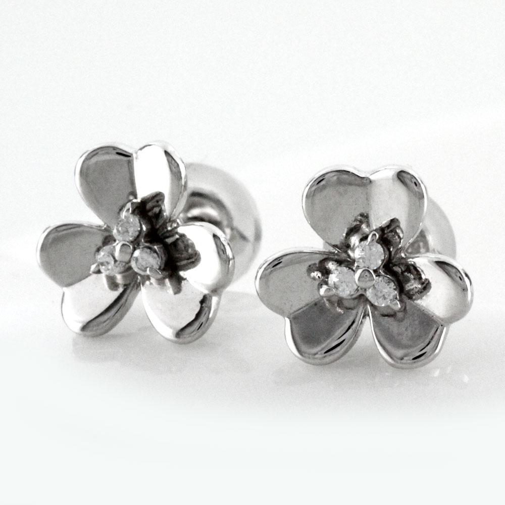 ダイヤモンド ピアス プラチナ レディース プラチナ フラワー 花 シンプル pt900