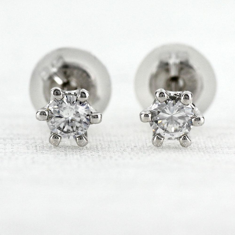 ダイヤモンド ピアス プラチナ レディース 一粒ダイヤ 0.1カラット スタッド シンプル プラチナ pt900