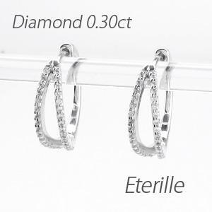 ピアス ダイヤモンド フープ 小さめ レディース ダイヤ 中折れ 2連 ダブル エタニティ 10金 10k k10 ゴールド 0.3カラット