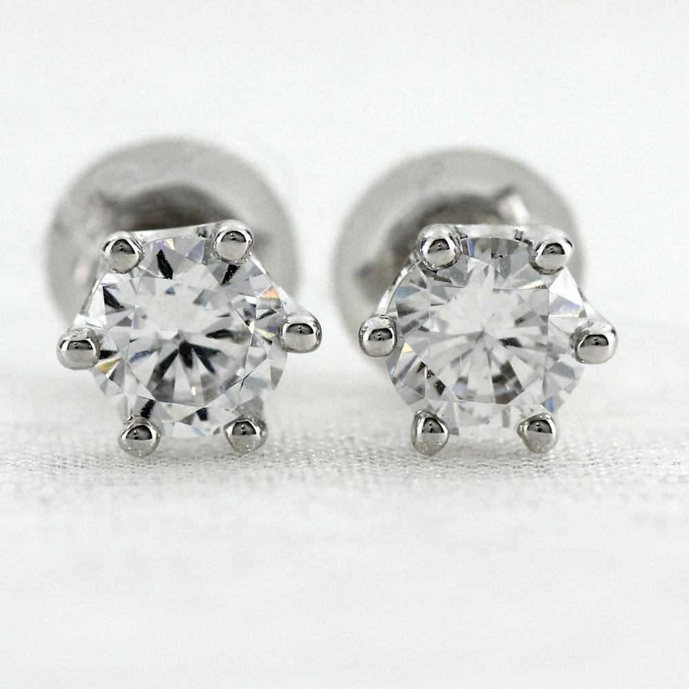 ダイヤモンド ピアス プラチナ レディース 一粒ダイヤ プラチナ ゴージャス シンプル 0.7カラット pt900