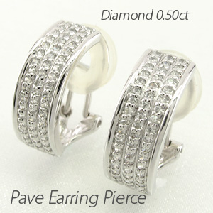 ダイヤ イヤリング ピアス ダイヤモンド レディース パヴェ スクエア プラチナ pt900 0.5カラット