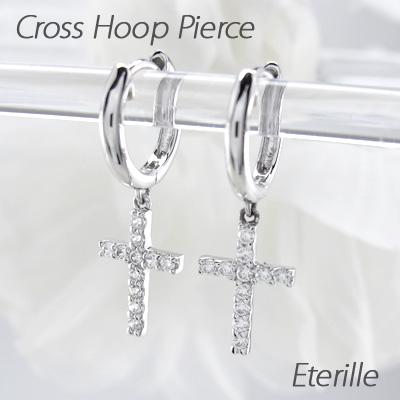 ピアス 揺れる クロス ダイヤモンド フープ レディース ダイヤ 中折れ 十字架 ブラ 0.2カラット プラチナ pt900
