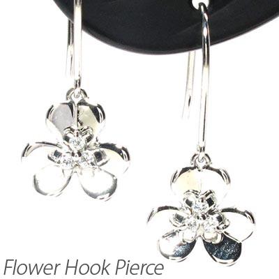 ダイヤモンド フックピアス 10k 揺れる レディース ダイヤ フラワー 花 ゆれる ブラ 10金 k10 ゴールド