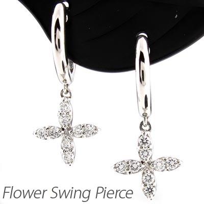ピアス 揺れる ダイヤモンド フープ レディース 中折れ フラワー 花 ブラ プラチナ pt900