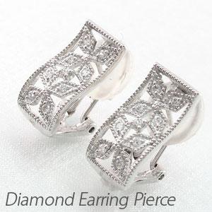 ダイヤ イヤリング ピアス ダイヤモンド レディース アンティーク ミル打ち フラワー 花 透かし プラチナ pt900 0.2カラット