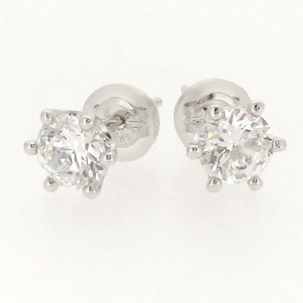 ダイヤモンド ピアス プラチナ レディース 一粒 1粒1.0カラット シンプル pt900 SIクラス