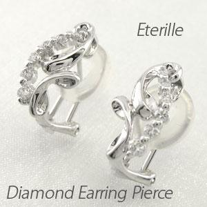 ダイヤ イヤリング ピアス ダイヤモンド レディース シンプル 地金 カーブ ウェーブ プラチナ pt900