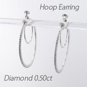 ダイヤ イヤリング ピアス ダイヤモンド レディース フープダイヤ イヤリング ラウンド シンプル 華奢ダイヤ イヤリング 0.5カラット ゴールド