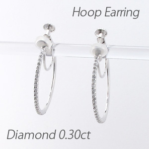 ダイヤ イヤリング ピアス ダイヤモンド 小さめ レディース フープダイヤ イヤリング ラウンド シンプル 華奢ダイヤ イヤリング 0.3カラット ゴールド