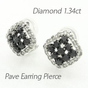 ブラックダイヤモンド イヤリング ピアス レディース パヴェ ゴージャス スクエア 透かし プラチナ pt900