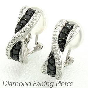 ブラックダイヤモンド イヤリング ピアス レディース ウェーブ カーブ コンビ ゴージャス 18金 18k ゴールド 0.5カラット
