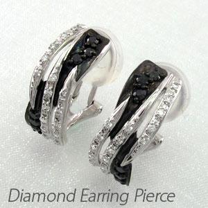 ブラックダイヤモンド イヤリング ピアス レディース ゴージャス カーブ プラチナ pt900