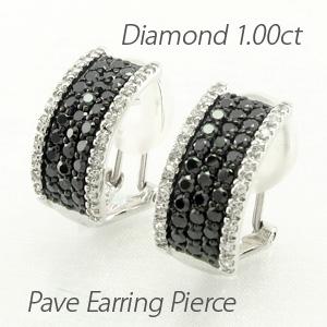 ブラックダイヤモンド イヤリング ピアス レディース パヴェ ゴージャス スクエア 1.0カラット プラチナ pt900