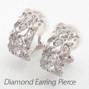ダイヤ イヤリング ピアス ダイヤモンド レディース アンティーク フラワー 花 つた 蔦 透かし プラチナ pt900 0.1カラット