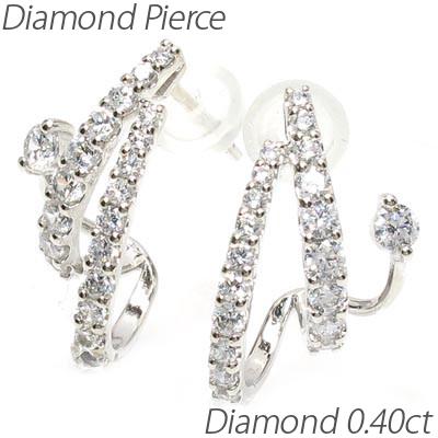 ダイヤ フープピアス k18 18k ダイヤモンド レディース 中折れ スタッド 重ねづけ アイディア 0.80 ゴールド