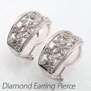 ダイヤ イヤリング ピアス ダイヤモンド レディース アンティーク フラワー 花 桜 さくら 透かし プラチナ pt900 0.1カラット