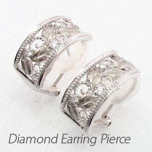 ダイヤ イヤリング ピアス ダイヤモンド レディース アンティーク フラワー 花 透かし プラチナ pt900 0.1カラット