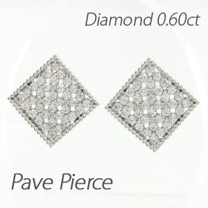 ピアス ダイヤモンド レディース パヴェ スクエア フラワー 花 アンティーク ミル打ち 透かし 0.60 プラチナ pt900