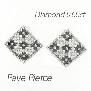 ブラックダイヤモンド ピアス レディース パヴェ スクエア フラワー 花 アンティーク ミル打ち 透かし 0.60 プラチナ pt900