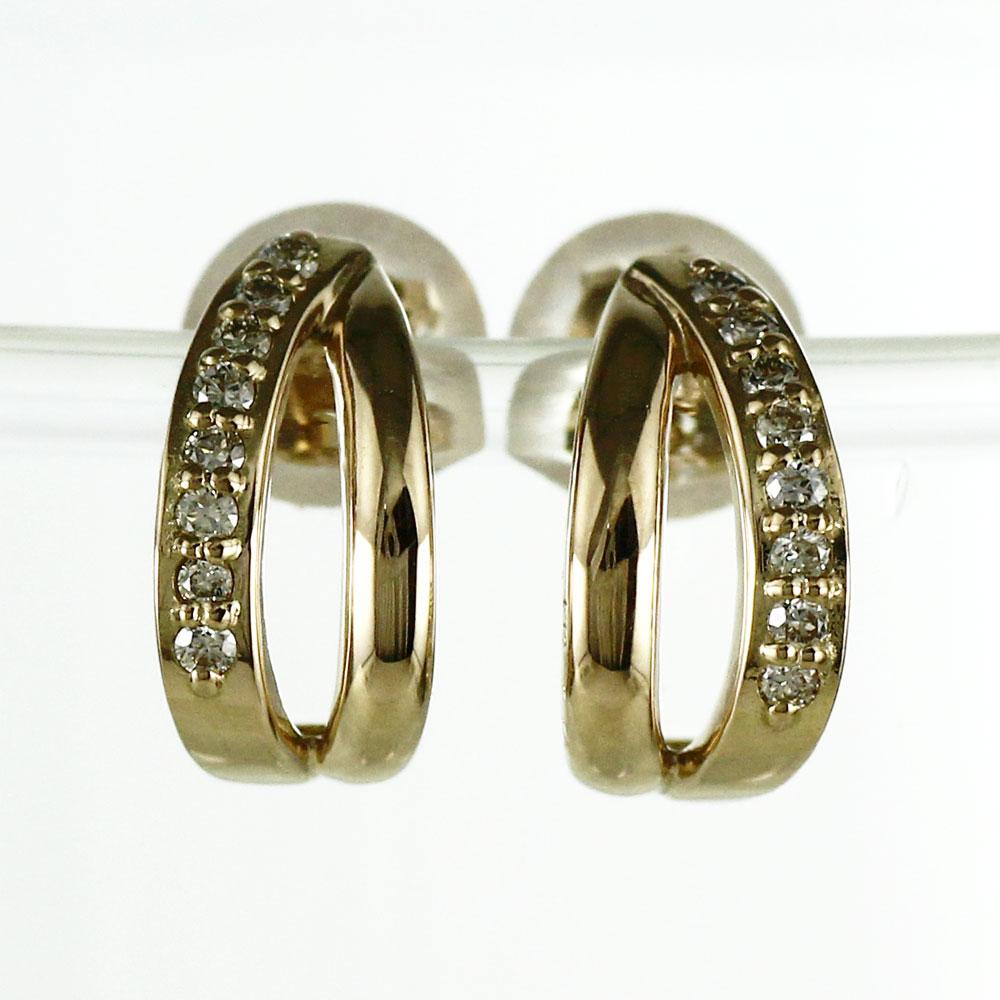 ダイヤモンド フックピアス 18k レディース ダイヤ アンティーク 透かし ブラ ゆれる ゴールド