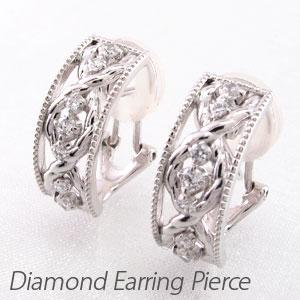 ダイヤ イヤリング ピアス ダイヤモンド レディース アンティーク ミル打ち 透かし ツイスト プラチナ pt900 0.3カラット