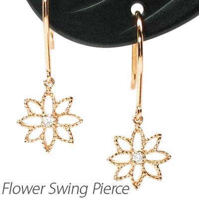 ダイヤモンド フックピアス 18k 揺れる レディース ダイヤ フラワー 花 透かし ブラ 18金 k18 ゴールド