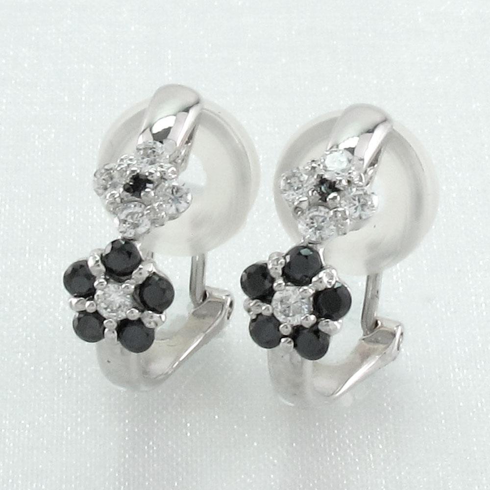 ブラックダイヤモンド イヤリング ピアス レディース フラワー 花 プラチナ pt900