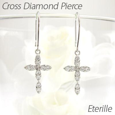 ダイヤモンド フックピアス 揺れる クロス レディース ダイヤ 十字架 ブラ プラチナ pt900