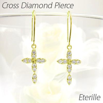 ダイヤモンド フックピアス 18k 揺れる クロス レディース ダイヤ 十字架 ブラ 18金 k18 ゴールド