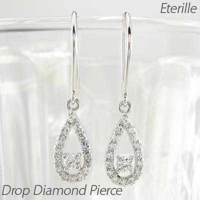 ダイヤモンド フックピアス 揺れる レディース ダイヤ ドロップ つゆ 涙型 ペアシェイプ プラチナ pt900 ブラ