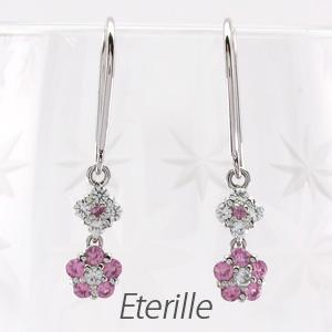 ダイヤモンド フックピアス 揺れる レディース ダイヤ フラワー 花 ブラ 2連 ピンクサファイア プラチナ pt900
