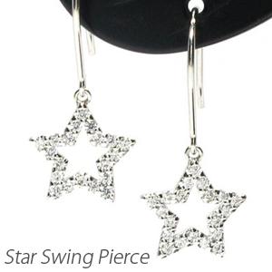ダイヤモンド フックピアス 揺れる レディース ダイヤ スター 星 星型 ブラ 0.2カラット プラチナ pt900